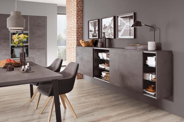 Mobilă de sufragerie / dining Nobilia Riva - Beton gri ardezie