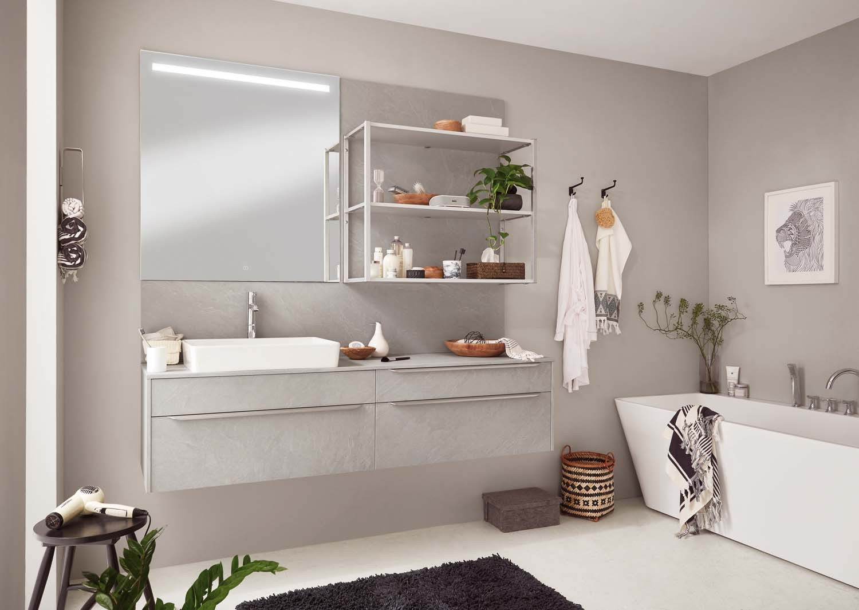 Mobilier modern pentru baie Nobilia Stoneart - Ardezie gri piatră