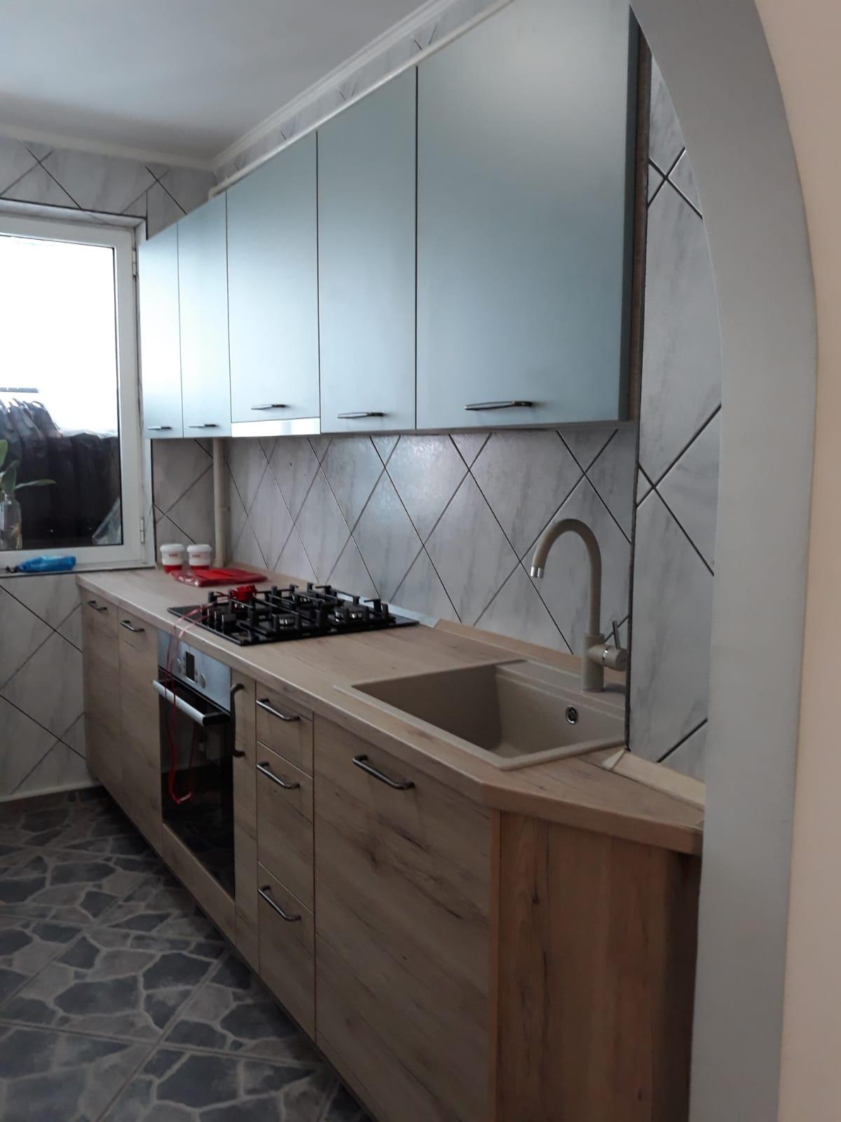 Referință - Bucătărie modernă Nobilia Riva - Stejar Sanremo / Apă Albastră