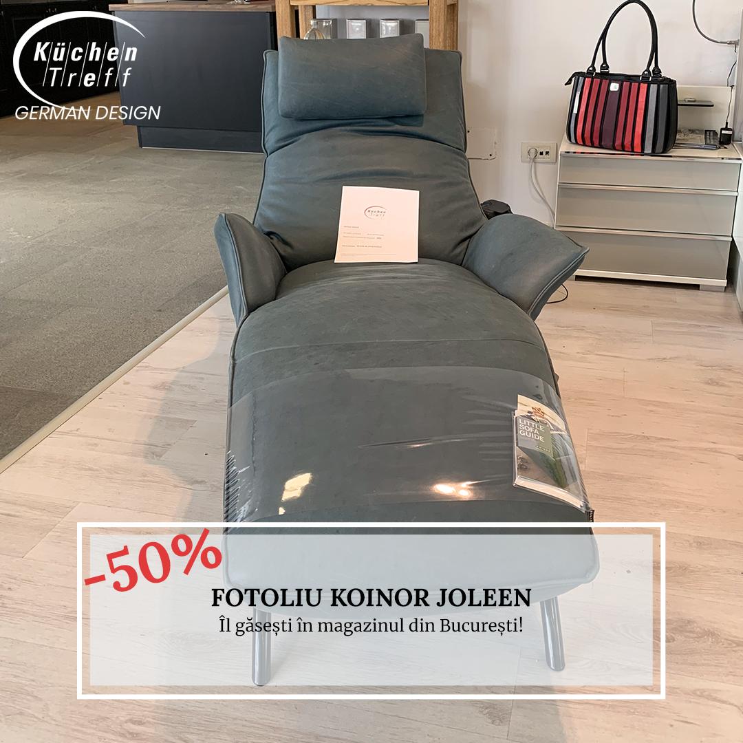 Lichidare - Fotoliu recliner cu masaj Koinor Joleen, gri-albăstrui