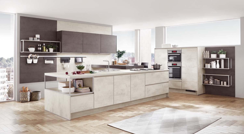 Mobilă de bucătărie modernă Nobilia Riva - Beton alb