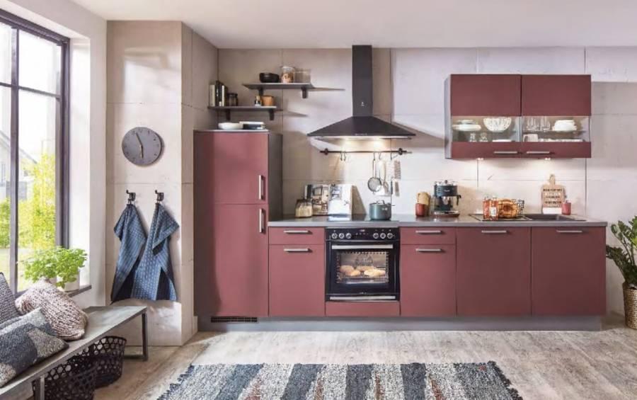 Mobilă de bucătărie modernă Nobilia Flat - Roșu Rubin Ultra Mat