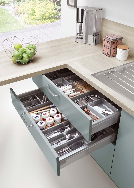 Mobilă de bucătărie modernă Nobilia Touch - Apă albastră mat