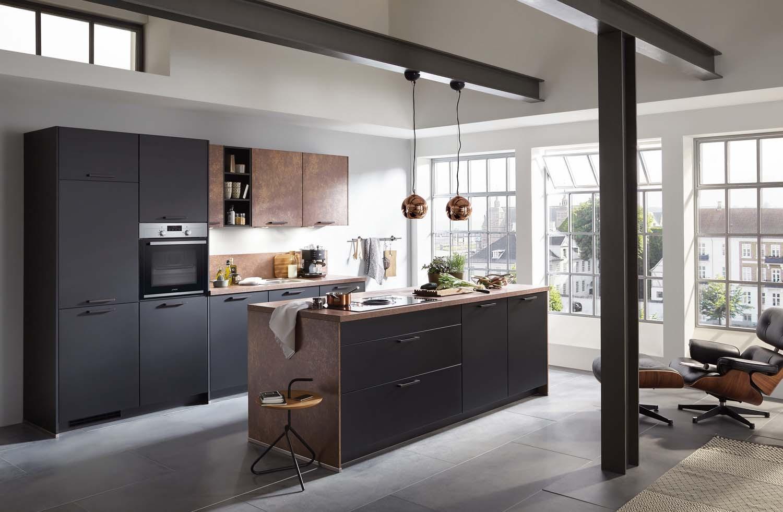 Mobilă de bucătărie modernă Nobilia Touch - Negru mat