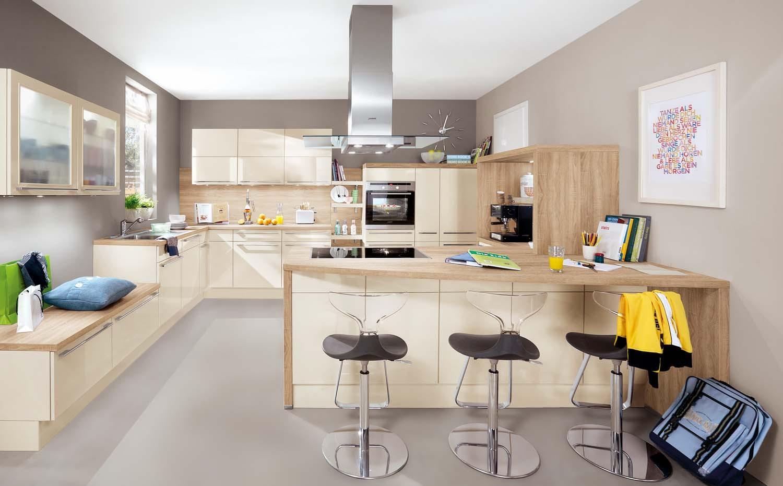 Mobilă de bucătărie modernă Nobilia Flash - Crem, bej lucios
