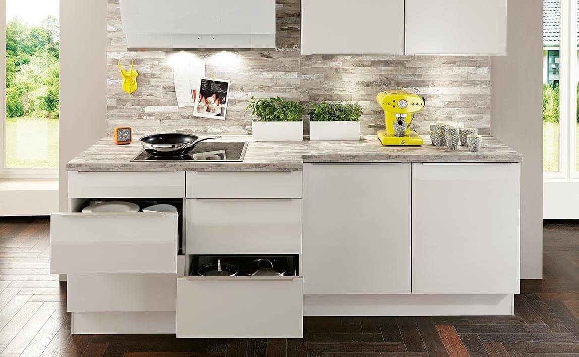 Mobilă de bucătărie modernă Nobilia Flash - Satin gri lucios