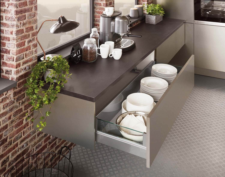 Mobilă de bucătărie modernă Nobilia Inox - Oțel periat
