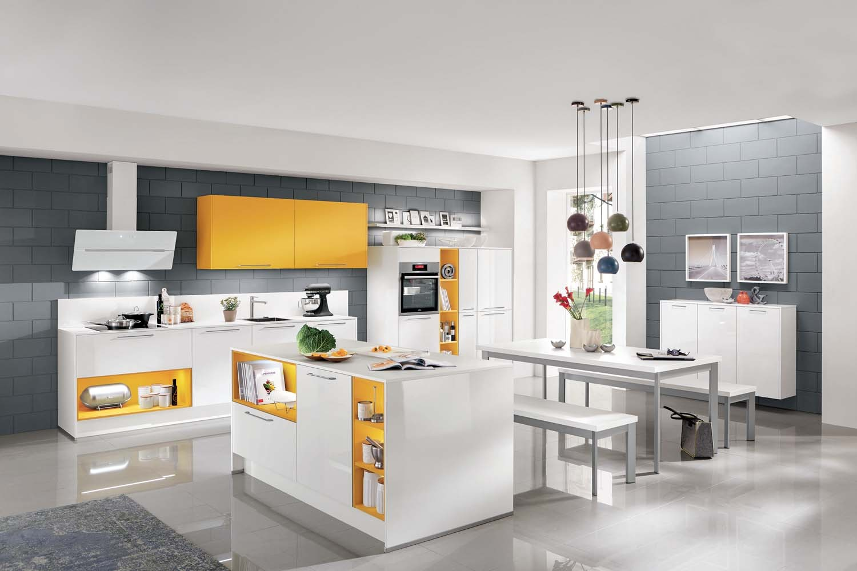 Mobilă de bucătărie modernă Nobilia Focus - Alb alpin ultra lucios