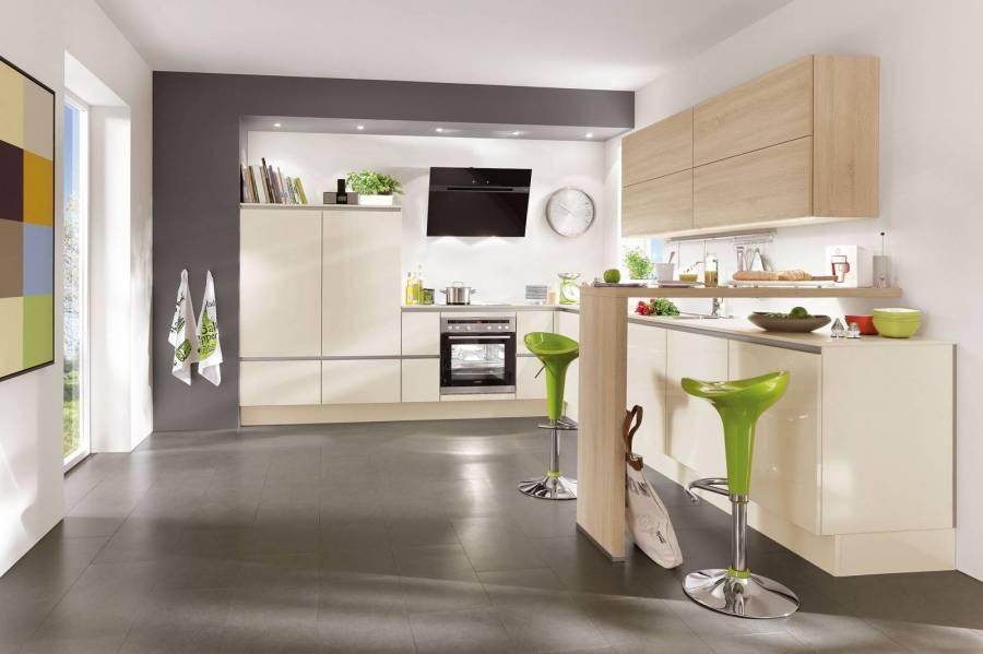 Mobilă de bucătărie modernă Nobilia Focus - Crem, bej ultra lucios