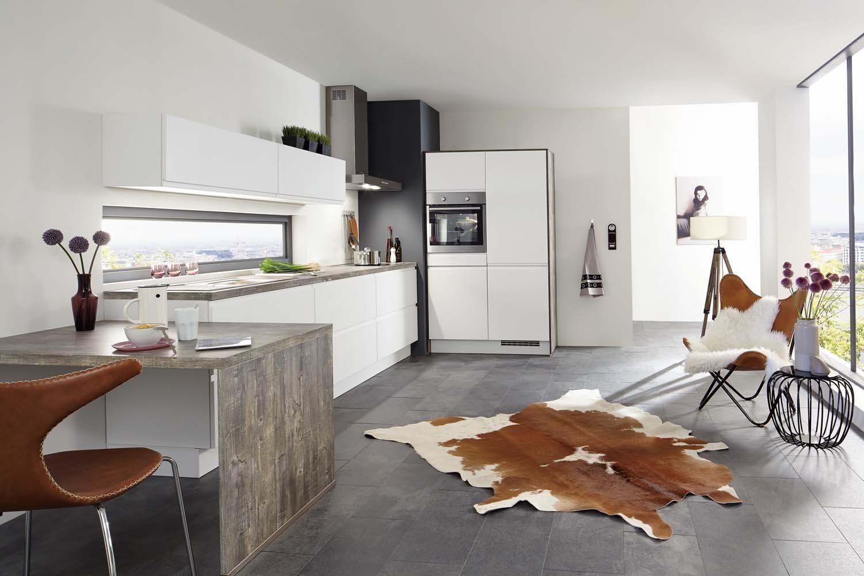 Mobilă de bucătărie modernă Nobilia Inline - Alb alpin mat