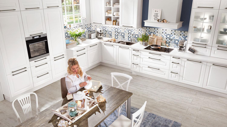 Mobilă de bucătărie rustică Nobilia Sylt - Alb alpin mat