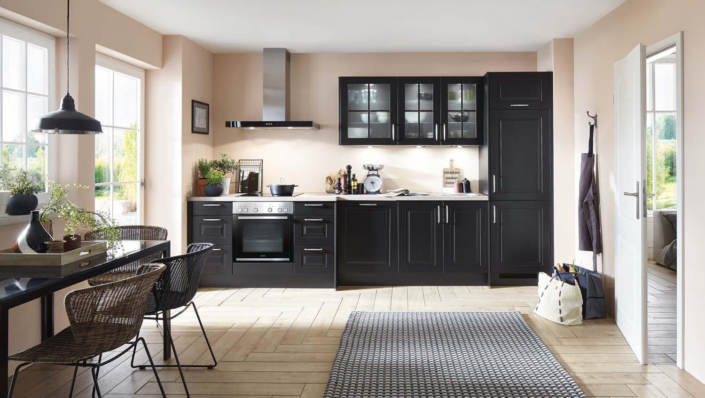 Mobilă de bucătărie rustică Nobilia Sylt - Negru mat