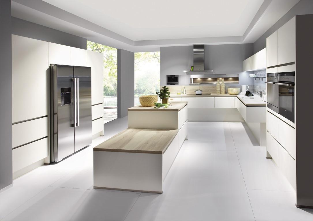Mobilă de bucătărie modernă Nobilia Laser - Crem, bej mat