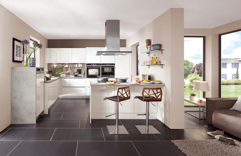Mobilă de bucătărie modernă Nobilia Lux - Alb lucios