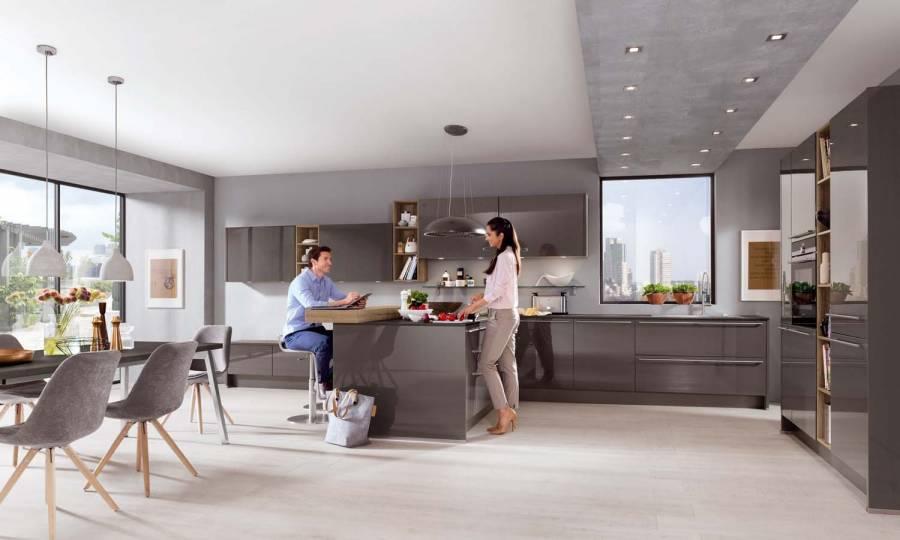 Mobilă de bucătărie modernă Nobilia Lux - Gri ardezie lucios