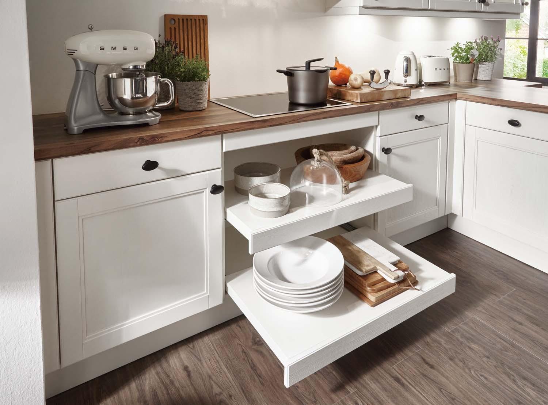 Mobilă de bucătărie rustică Nobilia York - Lemn autentic, crem, bej